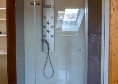 Dusche Nischenanlage mit Glasrueckwand